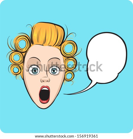 Vector illustration of surprised woman face with speech bubble. Easy-edit layered vector EPS10 file scalable to any size without quality loss. High resolution raster JPG file is included.  - stock vector