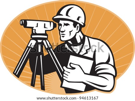 vector Illustration of surveyor civil geodetic engineer worker with theodolite total station equipment set inside ellipse with sunburst done in retro woodcut style,