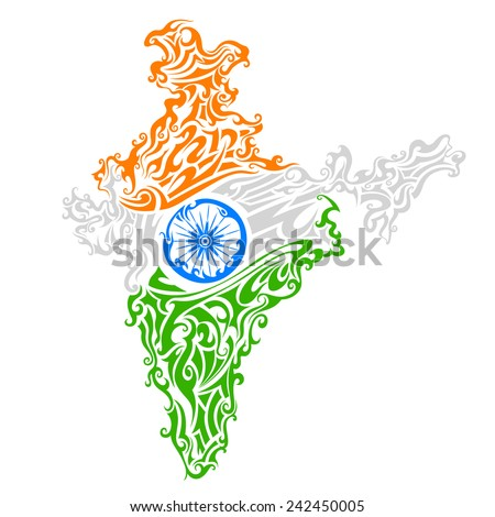 vector illustration of swirl floral tricolor India map - stock vector