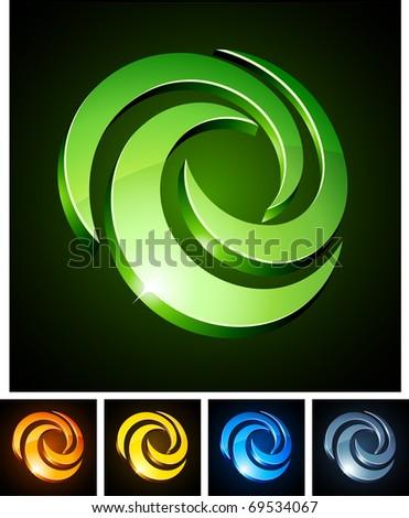 Vector illustration of swirl shiny symbols. - stock vector