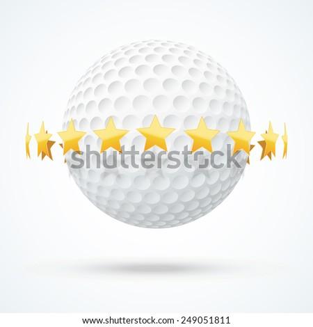 Vector illustration of symbol golf ball with golden stars. - stock vector
