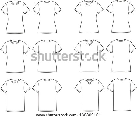 Vector illustration of t-shirts. Different silhouettes and necklines. Front and back views - stock vector