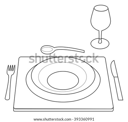 Vector illustration of table serving with plate, fork, spoon, knife and a glass - stock vector