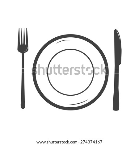 Vector illustration of table setting icon. Plate fork knife. Black and white  sc 1 st  Shutterstock & Vector Illustration Table Setting Icon Plate Stock Vector HD ...