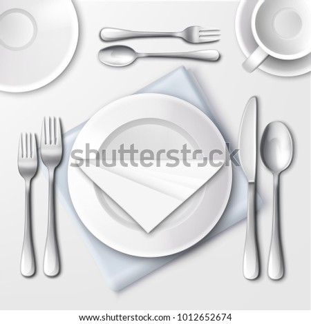 Vector illustration of table setting in restaurant with white plates and silverware. Top view  sc 1 st  Shutterstock & Vector Illustration Table Setting Restaurant White Stock Vector ...