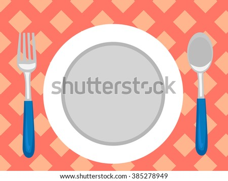 Vector Illustration of Table Setting in Top View