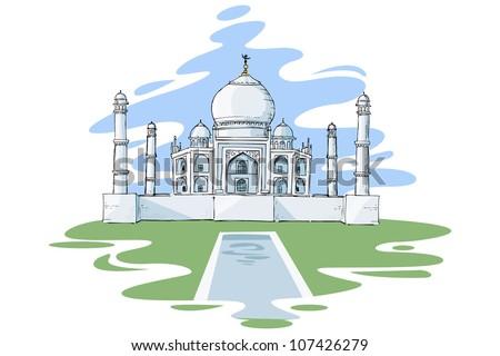 vector illustration of Taj Mahal of India - stock vector