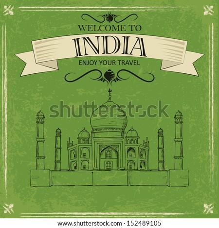 vector illustration of Taj Mahal of India for retro travel poster - stock vector