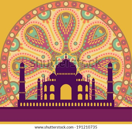vector illustration of Taj Mahal on an ornate traditional background - stock vector
