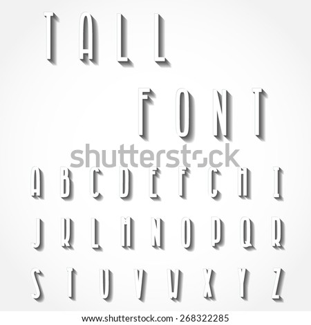 Vector Illustration of Tall Paper 3D Font for Design, Website, Background, Banner. ABC Element Template with Shadow. White Typographic for your Letter, Logo or Name - stock vector