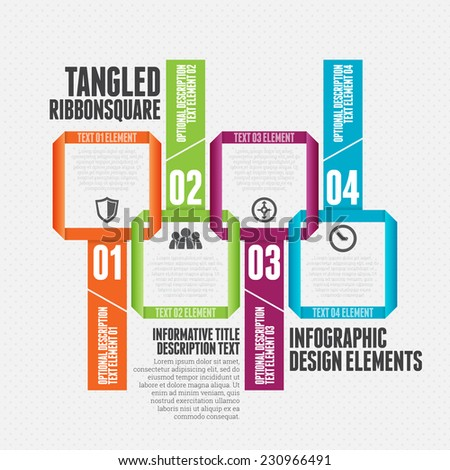 Vector illustration of tangled ribbon square infographic design element. - stock vector