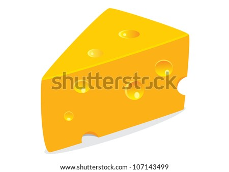 vector illustration of tasty cheese on white background - stock vector