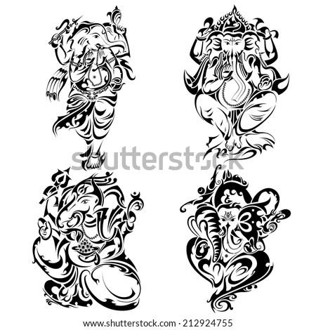 vector illustration of tattoo style Lord Ganesha - stock vector