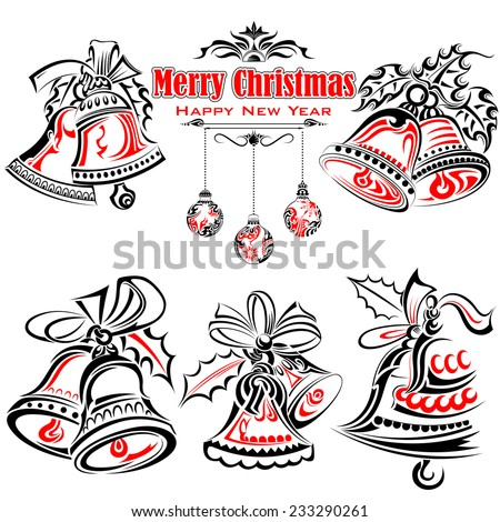 vector illustration of Tattoo Style of Christmas Jingle Bells  - stock vector