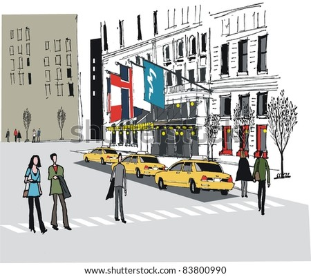 Vector illustration of taxis outside Manhattan hotel, New York