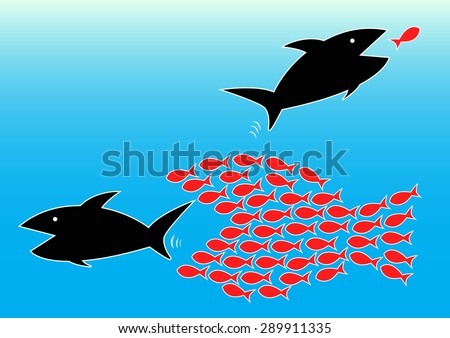 Vector illustration of teamwork concept by harmony of small fishes can eat big fish  - stock vector