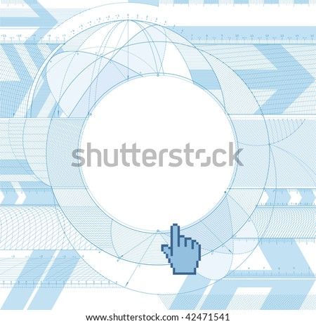 Vector illustration of technical draft background with a cursor. - stock vector