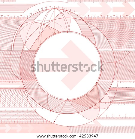 Vector illustration of technical draft background with arrows. - stock vector