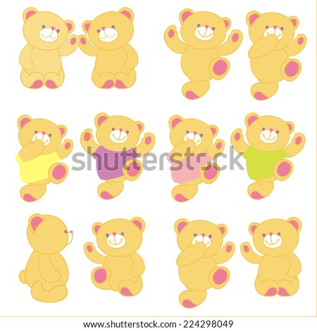 Vector illustration of teddy bear in different pose. Set. - stock vector