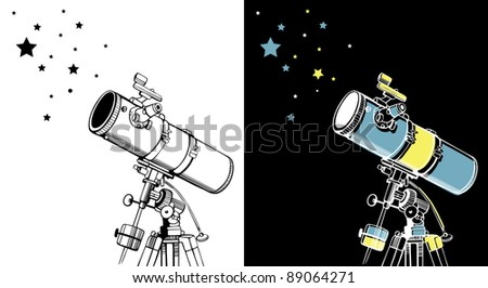 Vector illustration of telescopes & stars