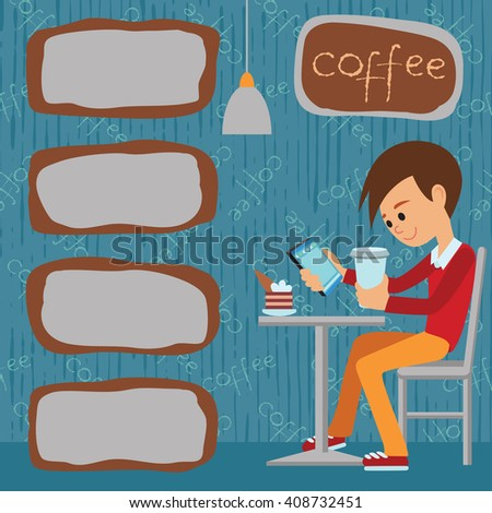 Vector illustration of template for menu, brochure, flyer for a cafe or restaurant with picture of a young boy sitting at table drinking beverage using tablet. - stock vector