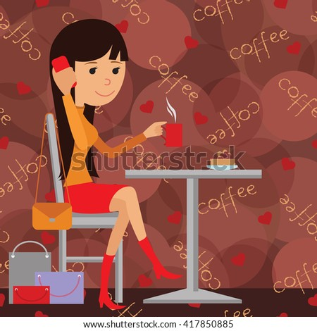 Vector illustration of template for menu, brochure, flyers for cafe or restaurant with picture of a young girl sitting at table drinking and using phone. - stock vector