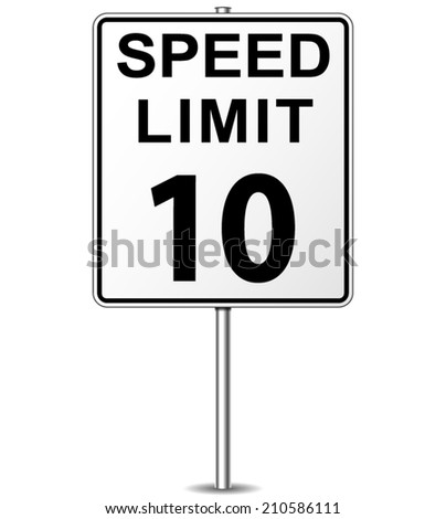 Vector illustration of ten speed limit signpost - stock vector