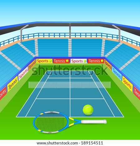 vector illustration of tennis racket and ball on tennis court - stock vector