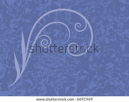 Vector illustration of textured blue background with light blue flourish. - stock vector