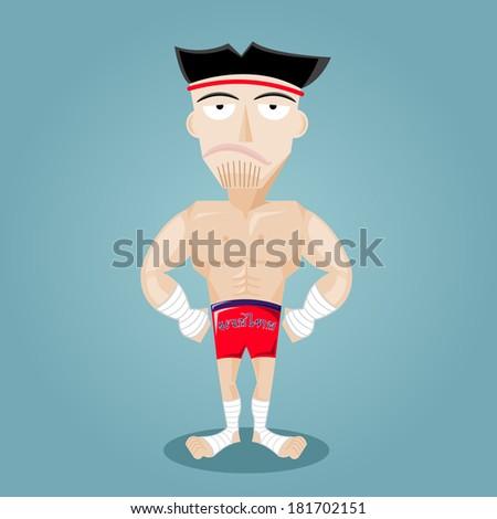 Vector illustration of Thai Boxing - stock vector