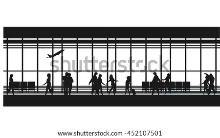 vector illustration of the airport building waiting room large picture window, people silhouettes, mourners, horizontal poster, an information board Black and white