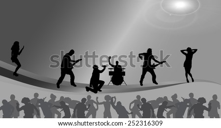 Vector illustration of the band on stage. - stock vector