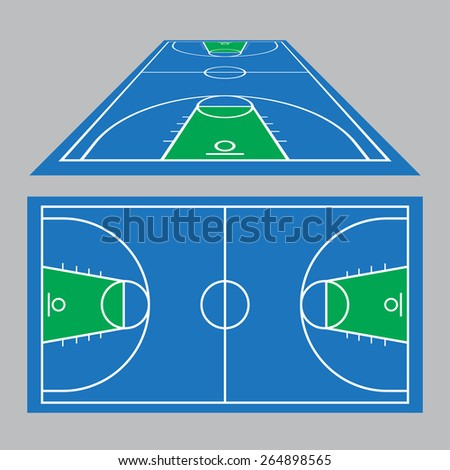 Vector Illustration of the Basketball Court Field Ground in blue and green - stock vector