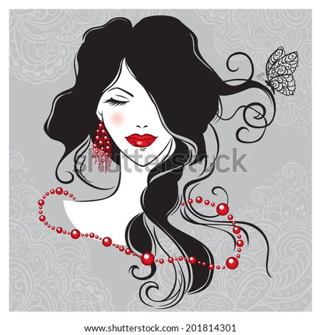 Vector illustration of the beautiful girl with the long dark hair  - stock vector