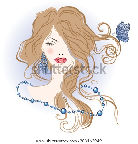 Vector illustration of the beautiful girl with the long hair  - stock vector