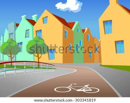 Vector illustration of the bicycle path in an european city with the fence, trees, a footpath and buildings in the background.Empty space leaves room for design elements, custom signs or text. Poster. - stock vector