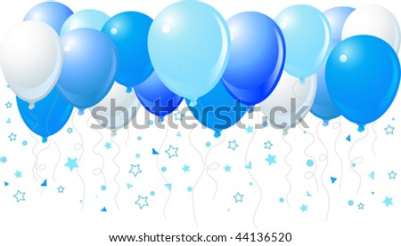 Vector illustration of the bunch of blue balloons flying up - stock vector