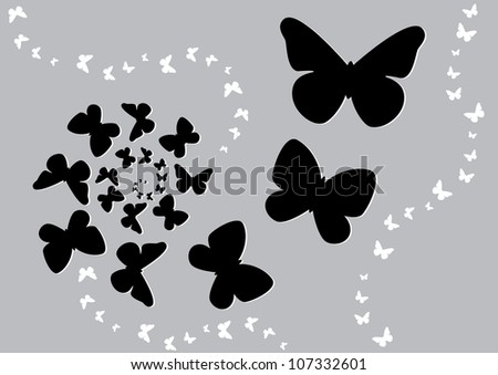 Vector illustration of the butterfly fly on a spiral, black and white butterflies - stock vector