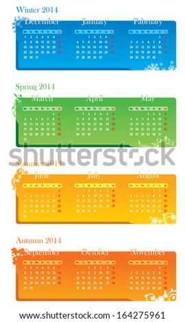 vector illustration of the calendar - stock vector