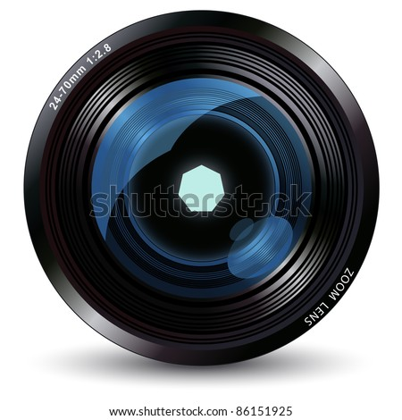 vector illustration of the camera lens - stock vector