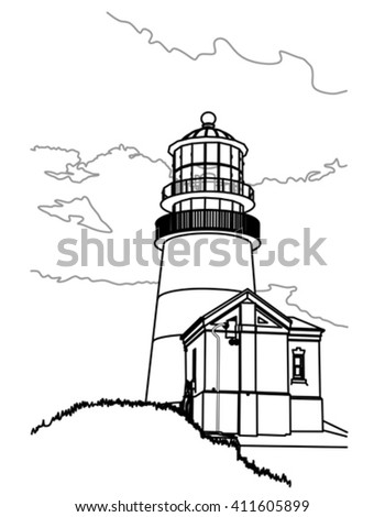 vector illustration of the Cape Disappointment lighthouse