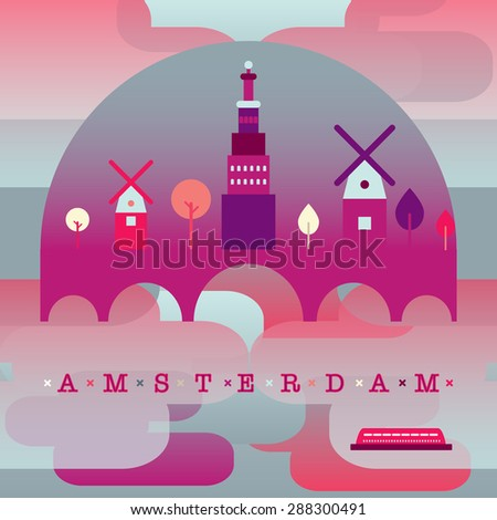 vector illustration of the capital of Holland. Amsterdam panorama. Can be used for poster, banner, publicity and etc. - stock vector