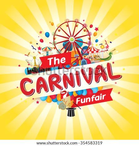 Vector illustration of the carnival funfair design.  - stock vector