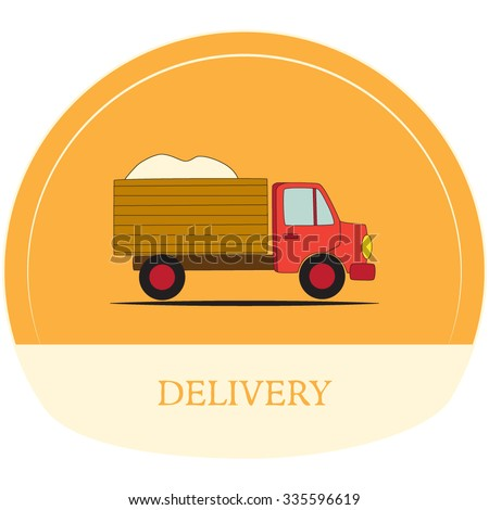 Vector illustration of the cartoon truck. Can use like a label - stock vector