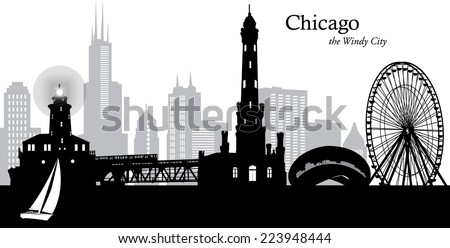 Vector Illustration Of The Chicago Illinois Cityscape As A Silhouette In Black And Grey