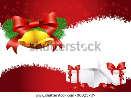 Vector illustration of the christmas background with bell and presents - stock vector