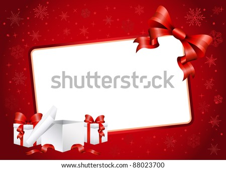 Vector illustration of the christmas card with bow and presents - stock vector