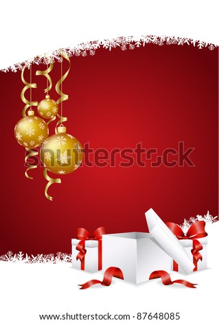 vector illustration of the christmas decoration with presents and baubles - stock vector