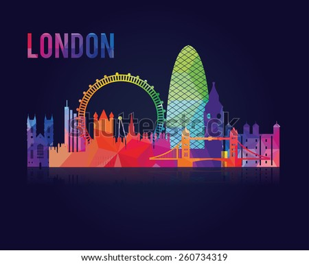 vector illustration of the city of London in the UK, the symbols of the city skyscrapers hotels, stylish graphics - stock vector