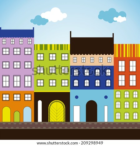 Vector illustration of the color city - stock vector
